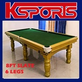 PUB SIZE POOL TABLE 8FT SLATE BILLIARD SNOOKER TABLE GREEN - G