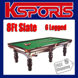 PUB SIZE POOL TABLE 8FT SLATE BILLIARD SNOOKER TABLE GREEN - M