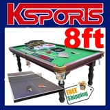TRADITIONAL PUB SIZE POOL TABLE 8FT SNOOKER BILLIARD TABLE WITH TABLE TENNIS TOP - GREEN