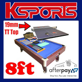 8Ft PUB SIZE POOL SNOOKER BILLIARD TABLE BLUE WITH TENNIS TENNIS TOP - 19mm