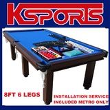 8FT POOL TABLE SNOOKER BILLIARD TABLE 6 LEGS WITH INSTALLATION