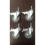 Metal Rubber Wheels - Able to Brake - 4 Per Set