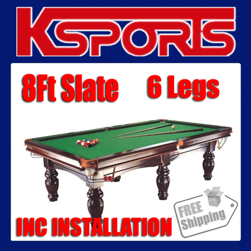 PUB SIZE POOL TABLE 8FT SLATE BILLIARD SNOOKER TABLE GREEN - WITH INSTALLATION - M